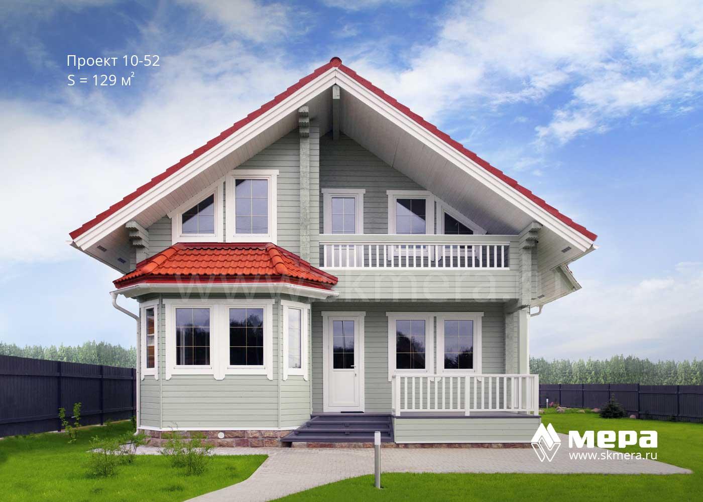 Дом из клееного бруса по проекту 10-52