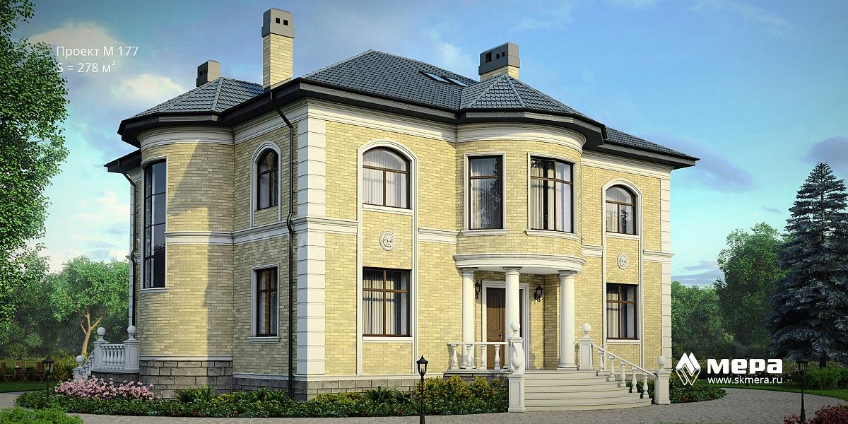 Дом из кирпича по проекту m177.